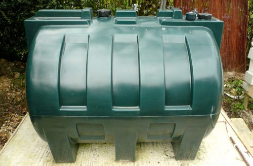 Oil storage tank in back garden