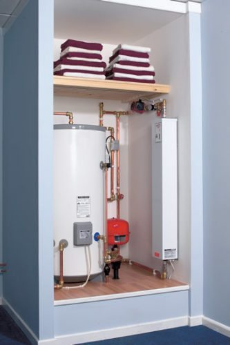 Electric boiler in airing cupboard
