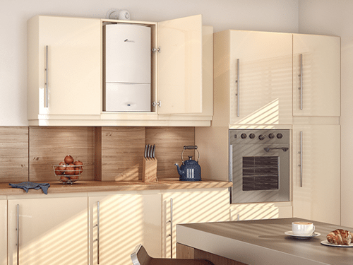 A regular boiler in a bright, clean kitchen; save on central heating installation cost