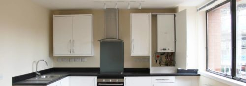 Combi boiler prices. Combi installed in kitchen